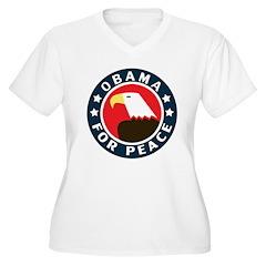 Obama For Peace Women's Plus Size V-Neck T-Shirt