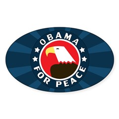 Obama For Peace Oval Sticker