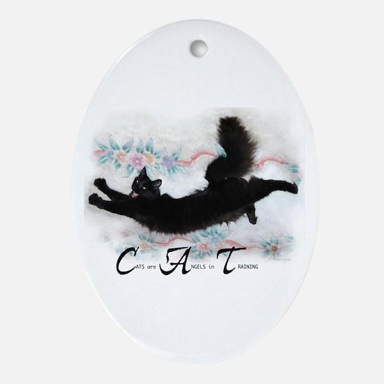 Cat Angel Oval Ornament
