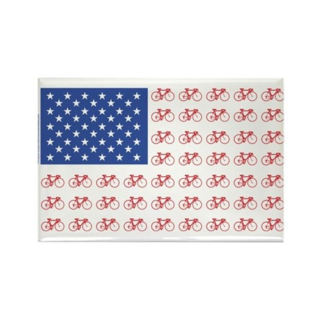 Bicycle Patriotic Flag Rectangle Magnet (100 pack)