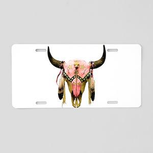 Star Bison Skull Aluminum License Plate