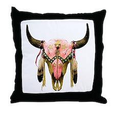 Star Bison Skull Throw Pillow