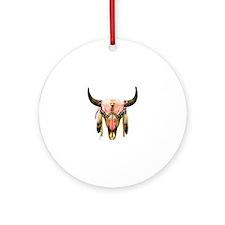 Star Bison Skull Round Ornament