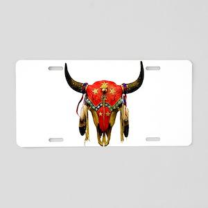 Star Buffalo Skull Aluminum License Plate