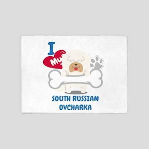 SOUTH RUSSIAN OVCHARKA Cute Dog Gif 5'x7'Area Rug