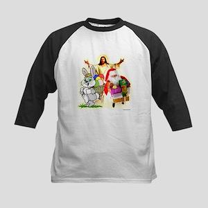 Easter Bunny, Jesus, Santa Cl Kids Baseball Jersey