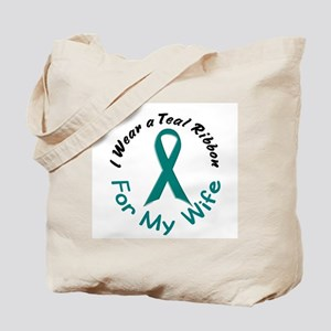 Teal Ribbon For My Wife 4 Tote Bag