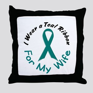 Teal Ribbon For My Wife 4 Throw Pillow