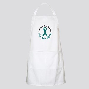 Teal Ribbon For My Wife 4 BBQ Apron