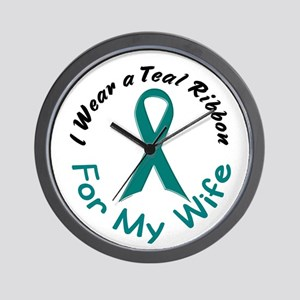 Teal Ribbon For My Wife 4 Wall Clock