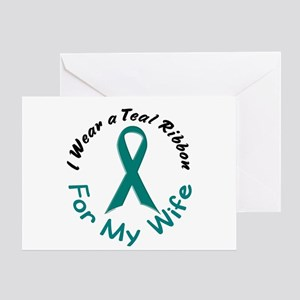 Teal Ribbon For My Wife 4 Greeting Card
