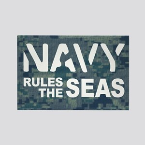 Navy Rules Blue Camo Rectangle Magnet