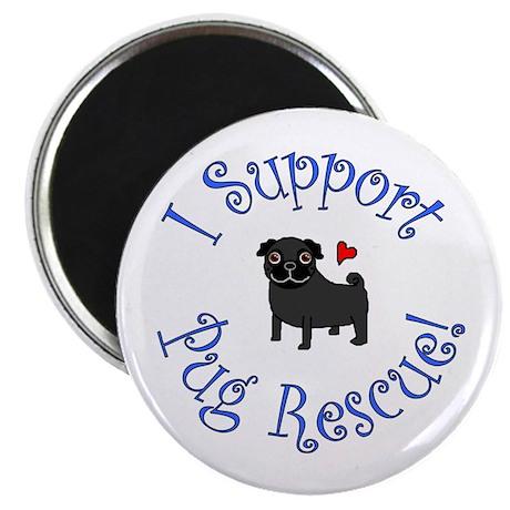"""Pug Rescue (Black) 2.25"""" Magnet (10 pack)"""