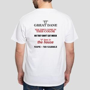 Great Dane Walking bk prnt White T-Shirt