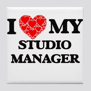 I Love my Studio Manager Tile Coaster