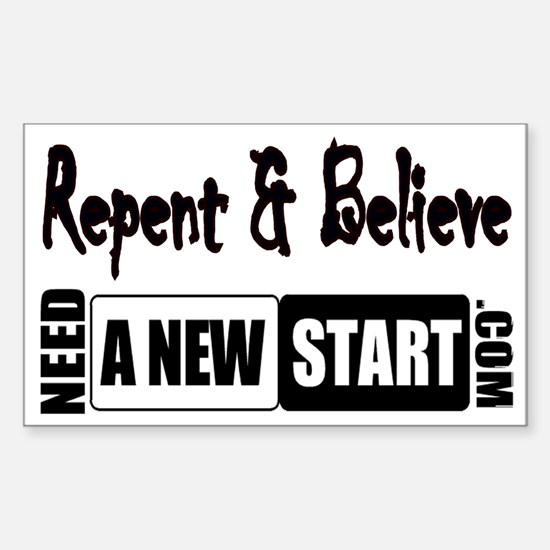 Repent & Believe Rectangle Decal