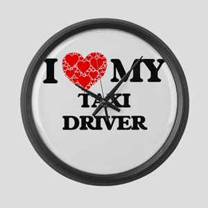 I Love my Taxi Driver Large Wall Clock