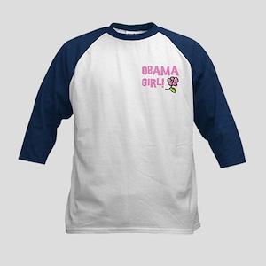 Flower Power Obama Girl Kids Baseball Jersey