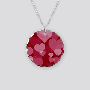 Red Valentine Hearts Necklace Circle Charm