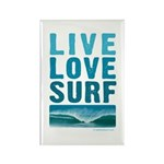 Live, Love, Surf - Rectangle Magnet (10 pack)