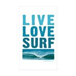 Live, Love, Surf - Rectangle Sticker 10 pk)