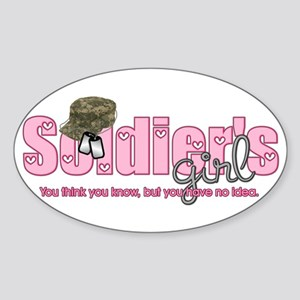 Camo & Dog tags Soldier's Gir Oval Sticker