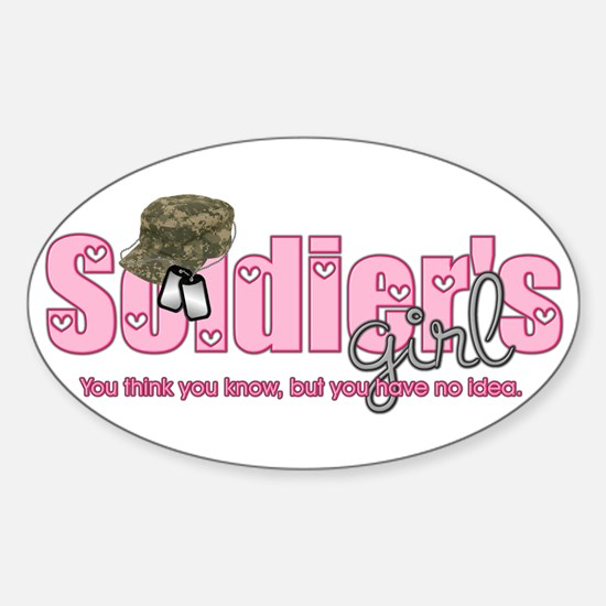Camo & Dog tags Soldier's Gir Oval Decal