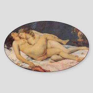 Courbet's Sleep Oval Sticker