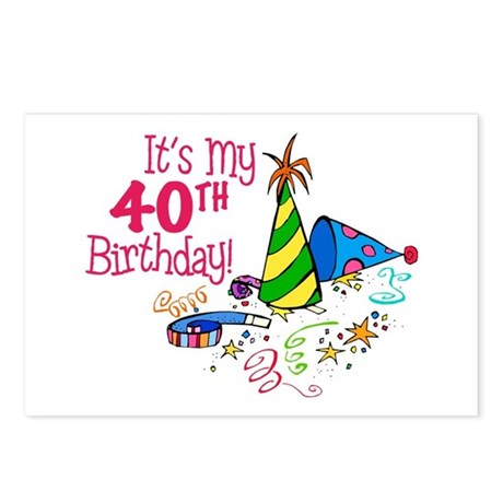 Its My 40th Birthday Party Hats Postcards Pack