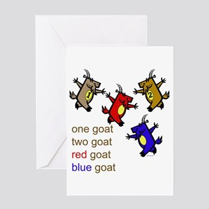 Red Goat Blue Goat Greeting Card