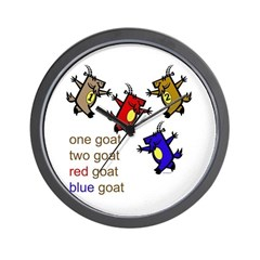 Red Goat Blue Goat Wall Clock
