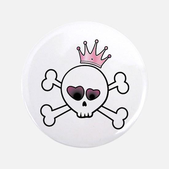 """Pretty Princess Skull 3.5"""" Button"""