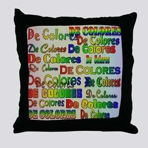 De Colores Fonts Throw Pillow