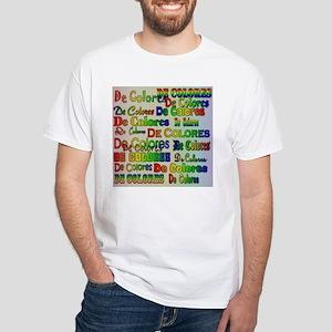 De Colores Fonts White T-Shirt