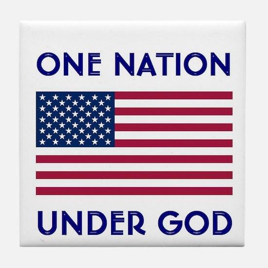 Cute One nation under god Tile Coaster