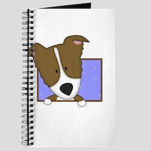 Cartoon Brown Border Collie Journal