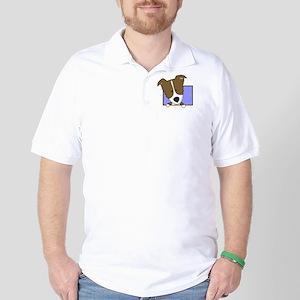 Cartoon Brown Border Collie Golf Shirt