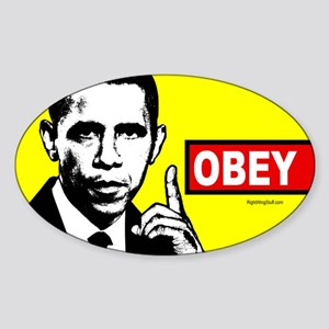 Anti-Obama OBEY Oval Sticker