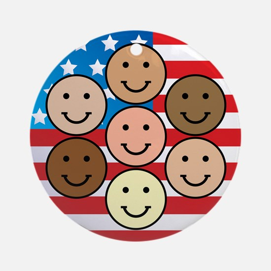 America People of Many Colors Ornament (Round)