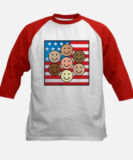 America People of Many Colors Kids Baseball Jersey