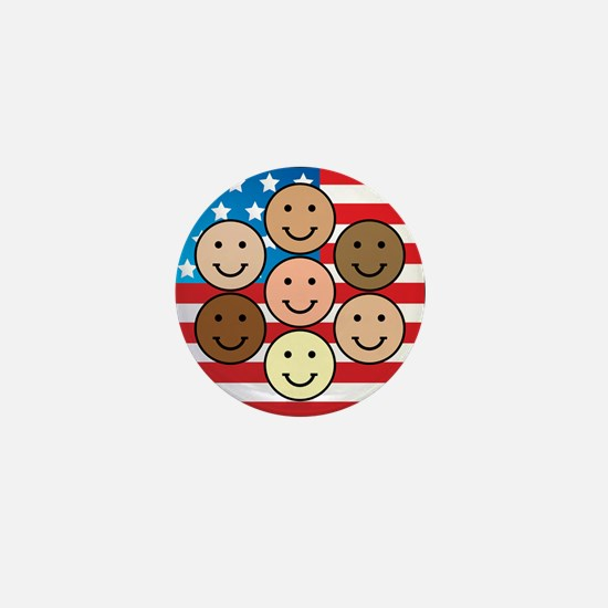 America People of Many Colors Mini Button
