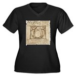Vitruvian Penguin Women's Plus Size V-Neck Dark T-