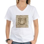 Vitruvian Penguin Women's V-Neck T-Shirt
