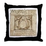 Vitruvian Penguin Throw Pillow