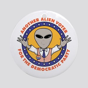 Alien Democratic Voter Ornament (Round)