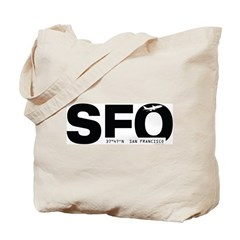 San Francisco Airport Code SFO Black Des. Tote Bag