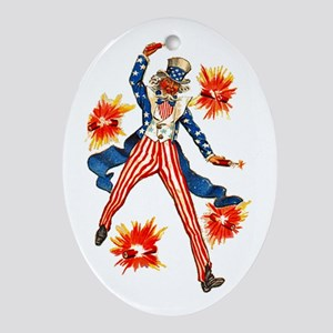 Uncle Sam & Firecrackers Oval Ornament