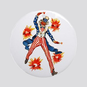 Uncle Sam & Firecrackers Ornament (Round)