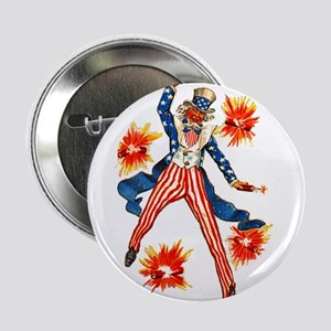"""Uncle Sam & Firecrackers 2.25"""" Button"""