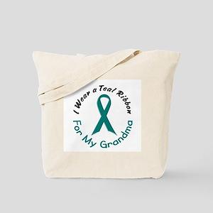 Teal Ribbon For My Grandma 4 Tote Bag